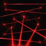 Realistyczne stylowe wiązki laserowe na czarnym tle ilustracja wektor