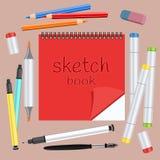 Realistyczne sztuk dostawy, ustawiają sztuka materiały Sketchbook, sztuka markier z dwa poradami, stubarwna rękojeści kapilara, c ilustracji