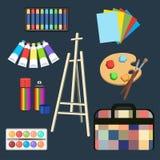 Realistyczne sztuk dostawy, ustawiają sztuka materiały Sztaluga, pastel, farba w tubkach, akwarela, paleta i muśnięcie, kiści far Fotografia Stock