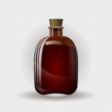 Realistycznego brązu ciemna butelka dla alkoholu z korkiem na przejrzystym tle royalty ilustracja