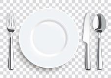 Realistycznego Nożowego rozwidlenia stali nierdzewnej Łyżkowy Flatware ilustracji
