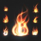 Realistycznej pomarańcze i czerwonego ogienia płomienie, kule ogniste na przejrzystej tło wektoru ilustraci ilustracji