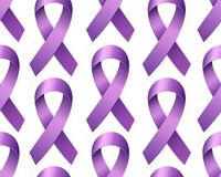 Realistycznej purpurowej świadomości Tasiemkowy bezszwowy wzór Światowy Lupus dzień 3d fiołkowa taśma ilustracja wektor