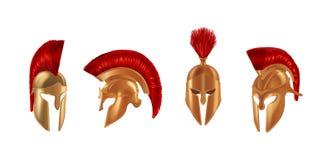 Realistyczni brązowi metali hełmy w różnych kątach Spartańscy hełmy Obrazy Stock
