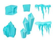 Realistyczni czap lodowa snowdrifts i sopel łamający kawałka kawałka gomółki zimy wystroju zimno marznący blokowy krystaliczny we ilustracji