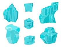 Realistyczni czap lodowa snowdrifts i sopel łamający kawałka kawałka gomółki zimy wystroju zimno marznący blokowy krystaliczny we royalty ilustracja