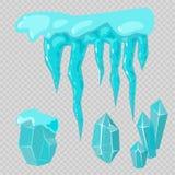 Realistyczni czap lodowa snowdrifts i sopel łamający kawałka kawałka gomółki zimy wystroju zimno marznący blokowy krystaliczny we ilustracja wektor