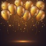 Realistyczni 3D glansowani złoci ballons Obrazy Stock