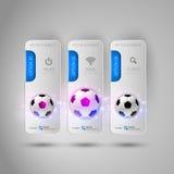 Realistyczni fottballs na szarych biznesowych sztandarach jako projekta infog Zdjęcie Royalty Free