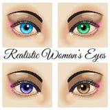 Realistyczni kobiet oczy Zdjęcia Royalty Free