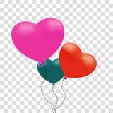 Realistyczni kolorowi kierowi ballons również zwrócić corel ilustracji wektora czerwona róża tło przejrzysty 2007 pozdrowienia ka Zdjęcie Royalty Free