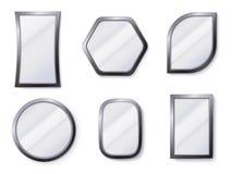 Realistyczni lustra Odbijająca lustro powierzchnia w ramie, odzwierciedlający szkło lustrzany 3D i round odizolowywał wektorową i ilustracji