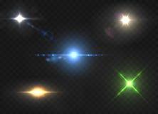 Realistyczni obiektywów raców gwiazdy światła i jarzeniowi kolorów elementy royalty ilustracja