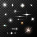 Realistyczni obiektywów raców gwiazdy światła i jarzeniowy biel ilustracji