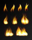 Realistyczni ogieni płomienie ustawiający ilustracja wektor