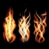 Realistyczni palenie ogienia płomienie Ustawiający ilustracji