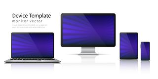 Realistyczni przyrząda Komputerowy laptop pastylki telefonu mockup, smartphone gadżetu parawanowy mobilny pokaz Monitoru przyrząd ilustracja wektor