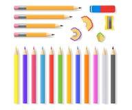 Realistyczni Szczegółowi 3d Zapraweni ołówki Ustawiający wektor Zdjęcia Stock