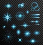 Realistyczni Ustaleni obiektywów raców gwiazdy światła i Jarzeniowi elementy royalty ilustracja