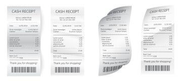 Realistyczni zapłata papieru rachunki dla gotówki lub karty kredytowej Papierowy czek i pieniężny czek odizolowywający royalty ilustracja