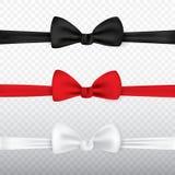 Realistyczny biały, czarny i czerwony łęku krawat odizolowywający na przejrzystym tle, Set krawata łęku kępki jedwab, elegancja i ilustracja wektor