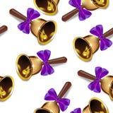 Realistyczny boże narodzenie dzwonów bezszwowy tło, purpurowy faborek, okresowy wzór Obraz Royalty Free
