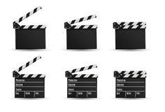 Realistyczny clapper kino 3d tła deski wizerunku biel Film Czas Obrazy Royalty Free