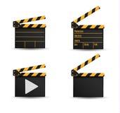 Realistyczny clapper kino 3d tła deski wizerunku biel Film Czas Zdjęcie Royalty Free