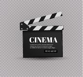 Realistyczny clapper kino 3d tła deski wizerunku biel Film Czas Obraz Royalty Free