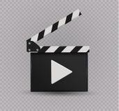Realistyczny clapper kino 3d tła deski wizerunku biel Film Czas Obrazy Stock