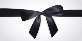Realistyczny czarny łęk z faborkiem odizolowywającym na bielu Element dla dekoracja prezentów, powitania, wakacje również zwrócić ilustracji