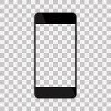 Realistyczny czarny telefon z pustym ekranem, odosobnionym na tle Zdjęcie Stock