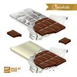 Realistyczny czekoladowy bar z kąskiem zawijającym w folii i plastikowej pokrywie Gryźć czekolada kawałki royalty ilustracja