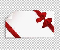 Realistyczny czerwony łęk i faborek odizolowywający na przejrzystym tle Szablon dla broszurki lub kartka z pozdrowieniami wektor zdjęcia stock