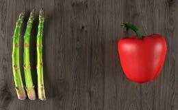 Realistyczny Czerwony pieprz I asparagus Obraz Stock