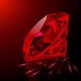 Realistyczny czerwony rubin odizolowywający na czarnym tle Obrazy Stock