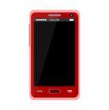 Realistyczny czerwony telefon komórkowy Obraz Stock