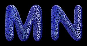 Realistyczny 3D pisze list ustalonego M, N robi? b??kitny klingeryt ilustracji