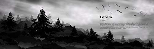 Realistyczny 3d sztandar, miejsce pod tekstem dla projekta, choinek, drzew, sosen i wysokich gór, naturalny krajobraz biel ilustracja wektor