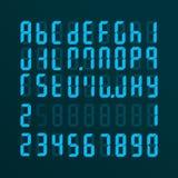 Realistyczny elektroniczny abecadło od A Z i liczby Tarcza na ekranie niebieski tła nowocześnie Ilustracja Wektor