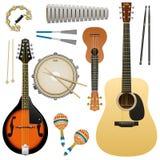Realistyczny instrument muzyczny odizolowywający na białym tle, gitara akustyczna, ukulele, mandolina, matnia bęben, marakasy, ta royalty ilustracja