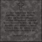 Realistyczny kamienia talerza biblii Romans 12:2 12 2 popularnego Obrazy Royalty Free
