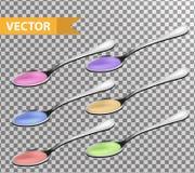 Realistyczny Kruszcowy teaspoon z cieczem, syropu set 3d tablespoon kolekcja odizolowywający na przejrzystym tle royalty ilustracja