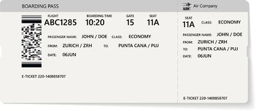 Realistyczny linia lotnicza abordażu lub bileta przepustki projekt ilustracja wektor