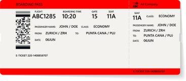 Realistyczny linia lotnicza abordażu lub bileta przepustki projekt ilustracji