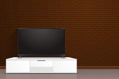 Realistyczny mądrze TV ekran w nowożytnym stylu lcd, prowadzący panel Ogromny pustego pokazu telewizyjny mockup przed ścianą z ce royalty ilustracja