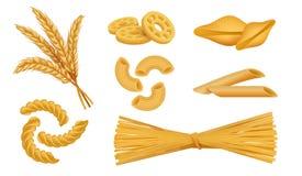 Realistyczny makaron Włoski makaron pisać na maszynie, kluski spaghetti fusilli pszeniczny jedzenie, 3D makaronu różny suchy set  royalty ilustracja