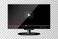 Realistyczny nowożytny TV monitor odizolowywający Odtwarzacz Wideo szablon ilustracja wektor