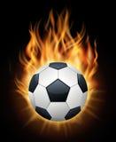 Realistyczny płonący piłki nożnej piłki czerni wektor royalty ilustracja