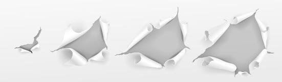 Realistyczny papier drzejący dziury papieru prześcieradło wektor zdjęcie stock